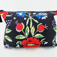 Canvas Wash bag, Folk Embroidery print, travel bag, cosmetic bag