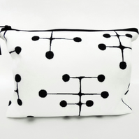 Canvas Wash bag, Eames Inspired print, travel bag, cosmetic bag