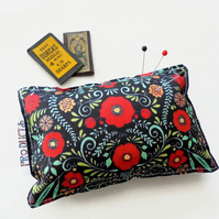 Canvas pin cushion, red folk flowers,seamstress gift, crafters gift, desk tidy.