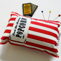 Canvas pin cushion,Retro popcorn, seamstress gift, crafters gift, desk tidy.