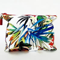 Canvas Wash bag,tropical, jungle, jungalow, travel bag, cosmetic bag, zip bag