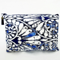 Canvas Wash bagboho, Indigo, bohemian, travel bag, cosmetic bag, zip bag