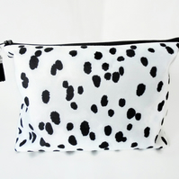 Dumpy Wash bag, Dalmatian print, Boxy bag, Monochrome, travel bag,