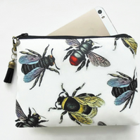 Canvas Pouch, Bee species, Vintage bees, bee wallet.