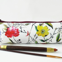 Botanical print, pencil pouch, brush bag, cosmetic pouch.