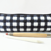 Gingham print, black and white,  pencil pouch, brush bag, cosmetic pouch.