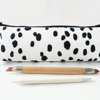 Dalmatian print, black and white,  pencil pouch, brush bag, cosmetic pouch.