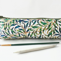 Green Leafy print, Jungle,  pencil pouch, brush bag, cosmetic pouch.
