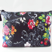Wash bag, Black Floral, travel bag, cosmetic bag, zip bag