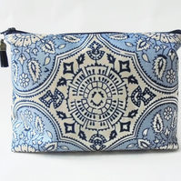 Wash bag, Navy and blue, vintage inspired travel bag, cosmetic bag, zip bag
