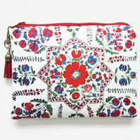 Travel Pouch, Folk Florals, antique style, Navy travel wallet, zipper pouch.