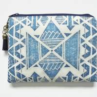 Travel Pouch, Navy Navajo, Aztec, travel wallet, zipper pouch.