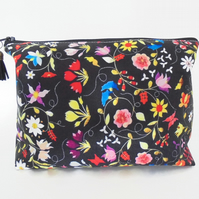 Dumpy make-up bag, Embroidery print, Boxy bag, ditsy floral, travel bag,