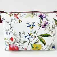 Dumpy make-up bag, Botanical print, Boxy bag, ditsy floral, travel bag,