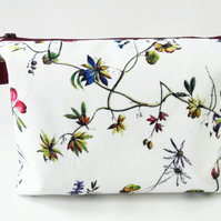 Dumpy make-up bag, Botanical floral print, Boxy bag, ditsy floral, travel bag,