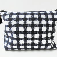 Gingham Wash bag, Monochrome makeup bag, black and white Dumpy bag, cosmetic bag