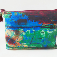 Dumpy make-up bag, Rusty art print, green Boxy bag, ditsy floral, travel bag,
