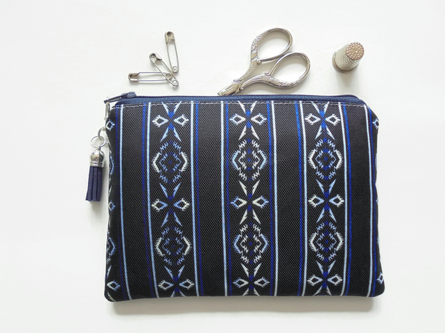 Zipper Pouch, Navy, Navajo, sewing pouch, small zipper bag.