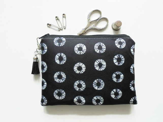 Zipper Pouch, Black shibori,sewing bag, Tie Dye, small zipper bag, wallet.