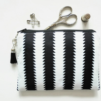 Zipper Pouch, Black and white pouch, monochrome wallet, small zipper bag, sewing