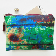 Zipper Pouch, Rusty art, sewing bag, Green, small zipper bag, wallet.