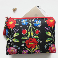Travel bag, embroidered flowers print sewing bag, small zipper bag, wallet.