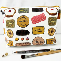 Wash bag, british biscuits,  travel bag, cosmetic bag, zip bag, make