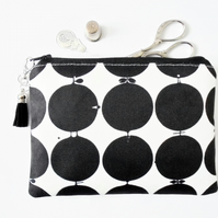 Zipper Pouch, swedish print, dotty, travel bag, small zipper bag, wallet.