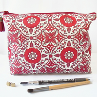 Wash bag, red, boho, red madallion, travel bag, cosmetic bag, zip bag, make up b
