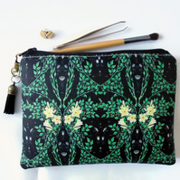 sewing Pouch, green trend, leafy, travel wallet, makeup organiser.