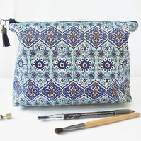 Wash bag, tile print, mock tile travel bag, cosmetic bag, zip bag, make up bag.