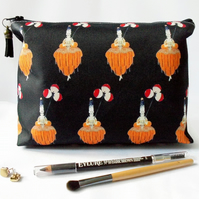 Wash bag, art deco, travel bag, cosmetic bag, zip bag, make up bag.