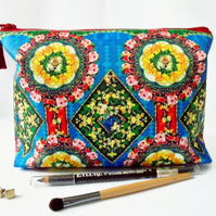 Wash bag, eclectic mix, travel bag, cosmetic bag, zip bag, make up bag.