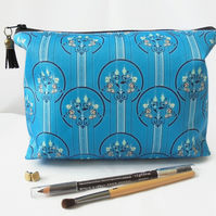 Wash bag, art deco, turquoise, travel bag, cosmetic bag, zip bag, make up bag.
