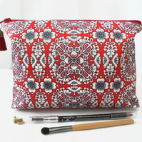 Wash bag, red eclectic, pattern mix,  travel bag, cosmetic bag, zip bag, make up