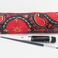 pencil case, paisley pattern, red pencil pouch, brush bag, cosmetic pouch.