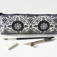boho print, pencil pouch, brush bag, art gift, student gift, teacher gift, folk