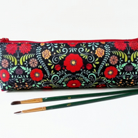 folky print, pencil pouch, brush bag, art gift, student gift, teacher gift, folk