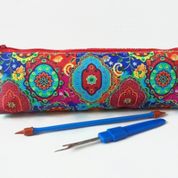 Colourful Indian print,  pencil pouch, brush bag, art gift, student gift.