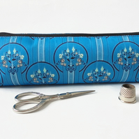Art Deco, Turquoise, mascara bag, pencil pouch, brush bag, art gift, student.