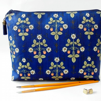 Victorian inspired print, Navy blue, zipper bag, makeup pouch, cosmetic storage,