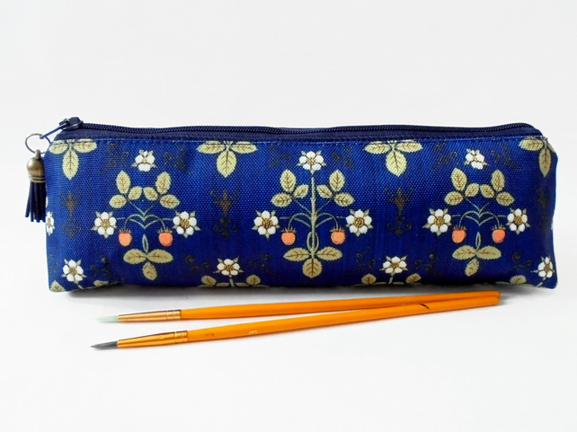 Victorian inspired, navy blue strawberry, mascara bag, pencil pouch, brush bag,
