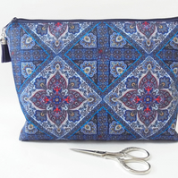 Paisley patterned, scarf inspired, Navy blue, zipper bag, makeup pouch, cosmetic