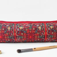 Russian scarf inspired, mascara bag, pencil pouch, brush bag, art gift.
