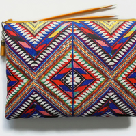 Wash bag, embroidered aztec print, boho, pocket bag, travel bag, cosmetic bag.