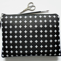 Wash bag, crosses, monochrome travel bag, cosmetic bag, zip bag, make up bag