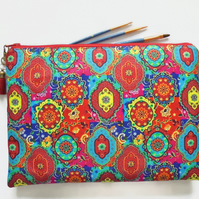Wash bag, colourful indian print, boho, pocket bag, travel bag, cosmetic bag.