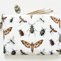 Wash bag, insects and bugs print, boho, pocket bag, travel bag, cosmetic bag.