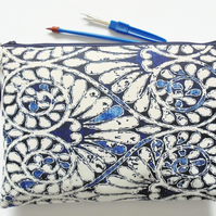 Wash bag, indigo print, boho, pocket bag, travel bag, cosmetic bag, zip bag, mak