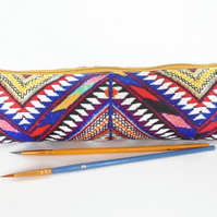navajo aztec pencil case, student gift, teacher gift, art gift, pencil pouch, br